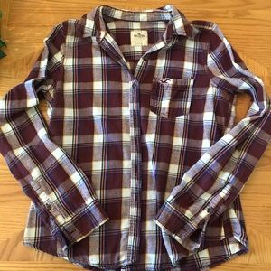 Hollister Plaid Flannel Buttoned Long Slee…